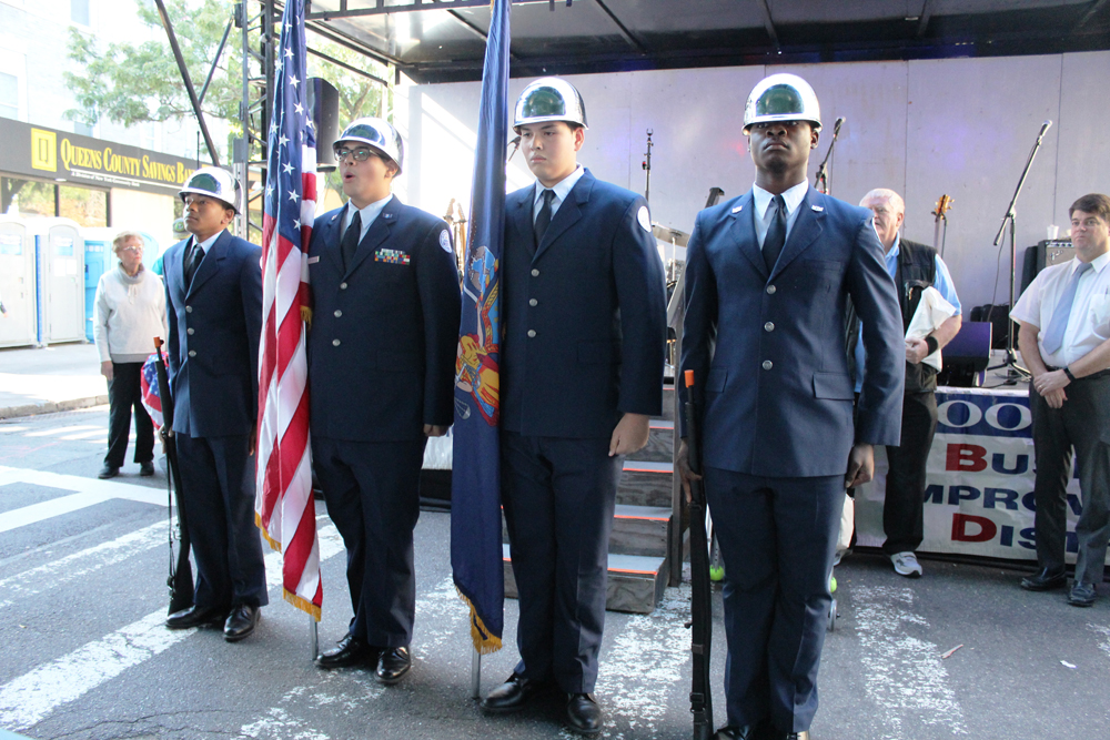 Franklin K. Lane High School ROTC under the leadership of Lt Col Garcia and Sergeant Master Carr perform at the Wonderful Woodhaven Street Festival.