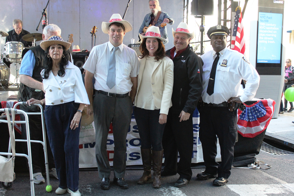 From left, pictured enjoying the Wonderful Woodhaven Street Festival on ctober 1, 2017 are Maria Thomson Executive Director of the Greater Woodhaven Development Corporation and Woodhaven Business Improvement District, Paul Rudolph GWDC Board Member, Councilwoman Elizabeth Crowley, Senator Joseph P. Addabbo Jr and Deputy Inspector Deodat Urprasad.